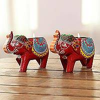 Wood tealight holders, 'Royal Light in Red' (pair) - Mango Wood Elephant Tealight Holders in Red (Pair)