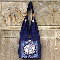 Cotton handbag, 'Lucky Elephant'