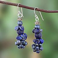 Lapis lazuli and cultured pearl beaded earrings, 'Heaven's Gift' - Lapis Lazuli and Cultured Pearl Beaded Cluster Earrings