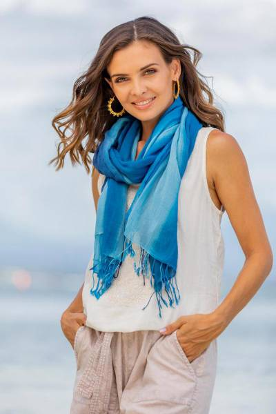 Cotton scarves, 'Delightful Breeze' (pair) - Cotton Wrap Scarves in Blue and Green from Thailand (Pair)