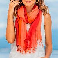 Cotton scarves, 'Warm Breeze' (pair) - Cotton Wrap Scarves in Red Pink and Orange (Pair)
