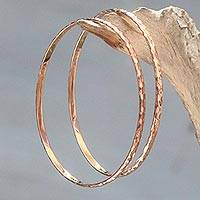 Rose gold plated bangle bracelets, 'Rose Gold Mosaic' (pair) - Women's Gold Plated Silver Bangle Bracelets from Bali (Pair)