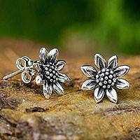 Sterling silver stud earrings, 'Happy Sunflowers' - Small Sterling Silver Sun Flower Post Earrings from Thailand