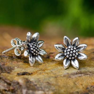 Sterling silver stud earrings, 'Sunflower Love' - Small Sterling Silver Sun Flower Post Earrings from Thailand