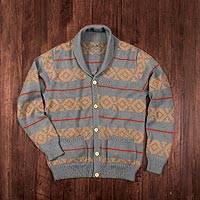 Men's 100% alpaca cardigan, 'Chakana Traveler'