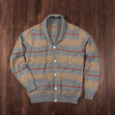 Men's 100% alpaca cardigan, 'Chakana Traveler' - Gray Men's 100% Alpaca Cardigan from Peru