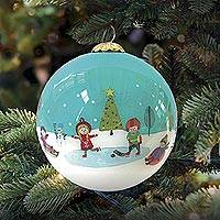 UNICEF glass holiday ornament, 'Winter Daydreams' - UNICEF 2020 Holiday Ornament