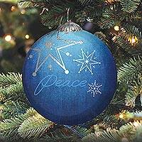 UNICEF glass holiday ornament, 'Wish Upon a Star' - UNICEF Holiday Glass Ornament