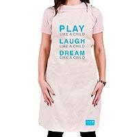 Unicef slogan apron 'Play, Laugh, Dream' - Play, Laugh, Dream Cotton Apron