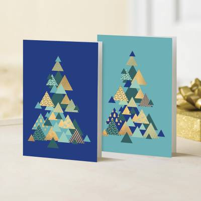 UNICEF holiday greeting cards, 'Thoroughly Modern Christmas' ( set of 10) - UNICEF Modern Tree Design Holiday Cards (Set of 10)