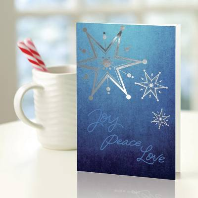 UNICEF holiday greeting cards, 'Peace Among the Stars' (set of 10) - UNICEF Blue Star Holiday Greeting Cards (Set of 10)