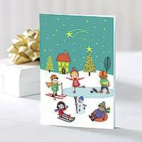 UNICEF holiday greeting cards, 'Nostalgic Daydreams' (set of 10) - UNICEF Kids Holiday Greeting Cards (Set of 10)