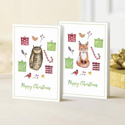 UNICEF holiday greeting cards, 'The Owl and the Fox' (set of 10) - UNICEF Owl and Fox Holiday Cards (Set of 10)