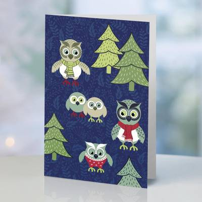 UNICEF holiday greeting cards, 'The Owl Family' (set of 10) - UNICEF Owl Motif Holiday Cards (Set of 10)
