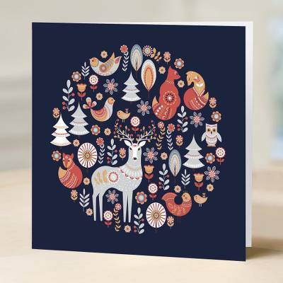 UNICEF holiday greeting cards, 'A Moment in the Woods' (set of 10) - UNICEF Holiday Greeting Cards (Set of 10)