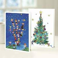 UNICEF holiday greeting cards, 'Reach for the Stars' (set of 10) - UNICEF Holiday Greeting Cards (Set of 10)