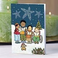 UNICEF holiday greeting cards, 'We Wish You a Merry Christmas...' (set of 10) - UNICEF Caroling Children Holiday Cards (Set of 10)