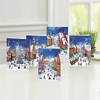 UNICEF holiday greeting cards, 'Village Flurry' (set of 10) - UNICEF Village Flurry Holiday Cards 5 Designs (Set of 10)