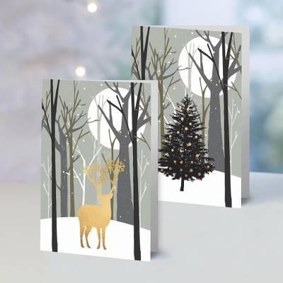 UNICEF holiday greeting cards, 'Moonlit Silhouettes' (set of 10) - UNICEF Moonlit Silhouettes Holiday Cards (Set of 10)