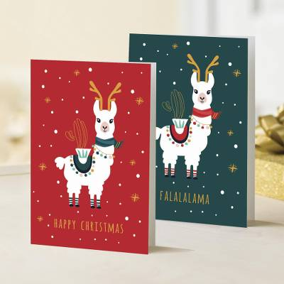 UNICEF holiday greeting cards, 'FaLaLaLama' (set of 10) - UNICEF Holiday Cards with Llamas (Set of 10)