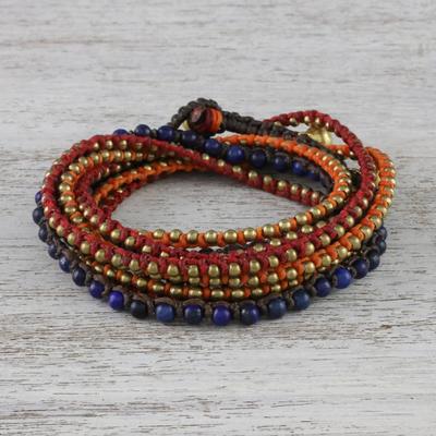 Lapis lazuli beaded wrap bracelet, 'Bohemian Bells' - Boho Lapis Lazuli Beaded Wrap Bracelet from Thailand