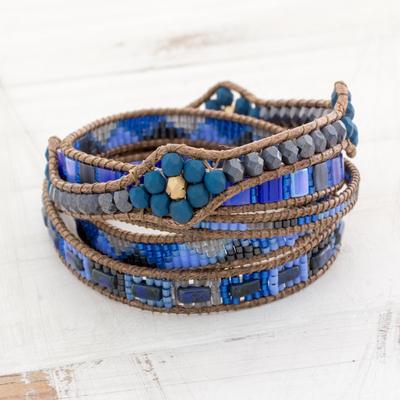 Glass beaded wrap bracelet, 'Country Skies' - Colorful Glass Beaded Wrap Bracelet from Guatemala