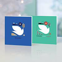 Unicef Christmas cards, 'A Peaceful Pair' (set of 10) - Unicef Christmas Cards A Peaceful Pair (Set of 10)
