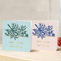 Unicef Christmas cards, 'A Botanical Pair' (set of 10) - Unicef Christmas Cards A Botanical Pair (Set of 10)