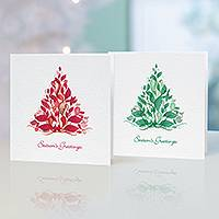 Unicef Christmas cards, 'Stylish Trees' (set of 10) - Unicef Christmas Cards Stylish Trees (Set of 10)