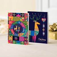 Unicef Christmas cards, 'Folk Art Elements' (set of 10) - Unicef Christmas Cards Folk Art Elements (Set of 10)