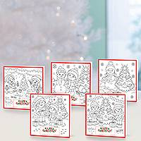 Unicef Christmas cards, 'Colouring Christmas' (set of 10) - Unicef Christmas Personalised Colouring Cards (Set of 10)