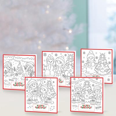 Unicef Christmas cards, 'Colouring Christmas' (set of 10) - Unicef Christmas Personalized Colouring Cards (Set of 10)