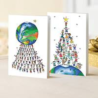 Unicef Christmas cards, 'One World Watercolor' (set of 10) - Unicef Christmas Cards One World Watercolor (Set of 10)