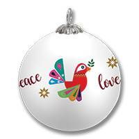 UNICEF glass ornament 'Peaceful Dove'  - Dove Glass Ornament with Peace, Joy, Love