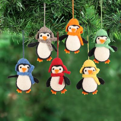 Wool felt ornaments, 'Cosy Penguins' (set of 6) - Handmade Felted Wool Penguin ornaments (Set of 6)