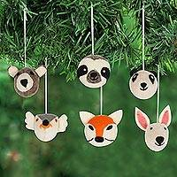 Wool felt ornaments, 'Happy Animals' (set of 6) - Hand Crafted Animal Face Wool Felt Ornaments (Set of 6)
