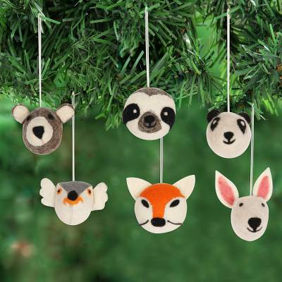 Wool felt ornaments, 'Happy Animals' (set of 6) - Hand Crafted Animal Face Wool Felt Ornaments (Set of 6)