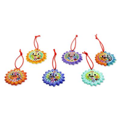 Ceramic ornaments, 'Old Sol' (set of 6) - Fair Trade Christmas Ceramic Ornaments (Set of 6)