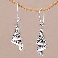 Sterling silver dangle earrings, 'Shining Songket' - Sterling Silver Cultural Dangle Earrings from Bali