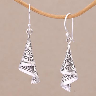 Sterling silver dangle earrings, 'Shining Songket' - Sterling Silver Cultural Dangle Earrings from Bali