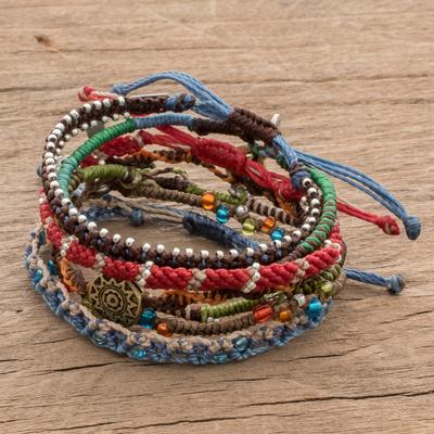 Glass beaded macrame bracelets, 'Colorful Stories' (set of 7) - Colorful Glass Beaded Macrame Bracelets (Set of 7)