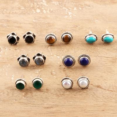 Multi-gemstone stud earrings, 'Everyday Pairs' (set of 7) - Multi-Gemstone Stud Earrings from India (Set of 7)
