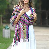 Cotton shawl, 'San Juan Fiesta' - Colorful Cotton Shawl Crafted in Guatemala
