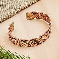 Copper cuff bracelet, 'Brilliant Weave' - Handcrafted Braided Copper Cuff Bracelet from Mexico