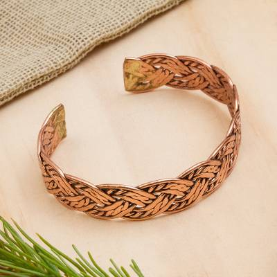 Copper cuff bracelet, 'Brilliant Weave' - Handcrafted Braided Copper Cuff Bracelet from Mexico