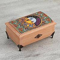 Decoupage wood box, 'Life is Good' - Sun and Moon Decoupage Wood Decorative Box from Mexico