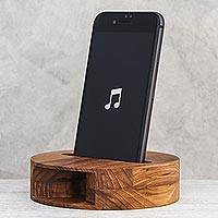 Teakwood phone speaker, 'Sleek Sounds' - Round Teakwood Phone Speaker from Thailand