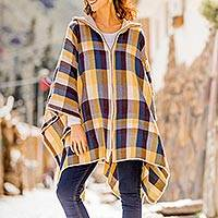 Alpaca blend poncho, 'Cuzco in the Morning' - Check Pattern Alpaca Blend Zip Poncho from Peru