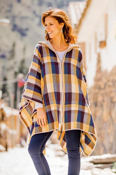 Alpaca blend poncho, 'Cuzco in the Morning' - Check Pattern Alpaca Blend Zip Poncho from Peru