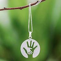 Sterling silver pendant necklace, 'Generations' - Hand Motif Inspirational Sterling Silver Pendant Necklace